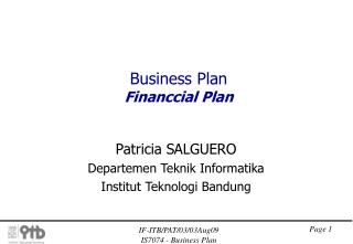 Business Plan Financcial Plan