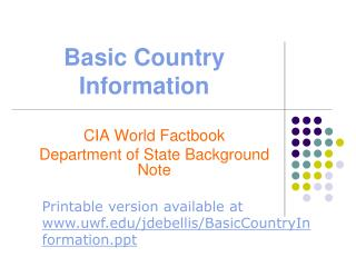 Basic Country Information