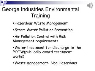 George Industries Environmental Training