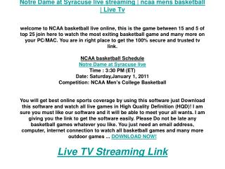 Notre Dame at Syracuse live streaming | ncaa mens basketball