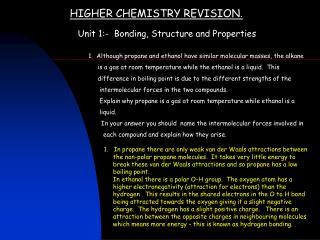HIGHER CHEMISTRY REVISION .