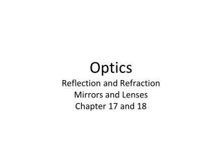 Optics  Reflection and Refraction Mirrors and Lenses Chapter 17 and 18