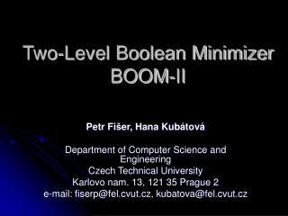 Two-Level Boolean Minimizer BOOM-II