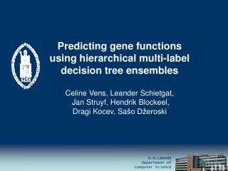 Predicting gene functions  using hierarchical multi-label  decision tree ensembles