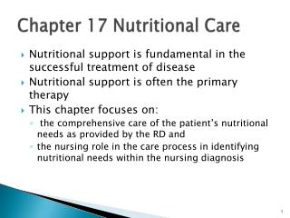 Chapter 17 Nutritional Care