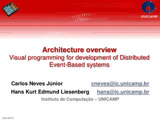 Architecture overview Visual programming for development of Distributed Event-Based systems