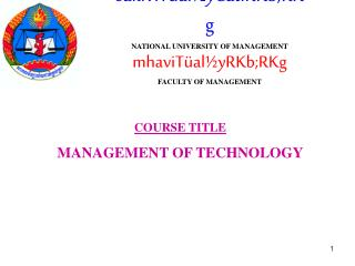 saklviTüal½yCatiRKb;RKg NATIONAL UNIVERSITY OF MANAGEMENT mhaviTüal½yRKb;RKg FACULTY OF MANAGEMENT