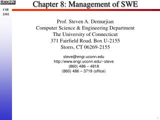 Chapter 8: Management of SWE
