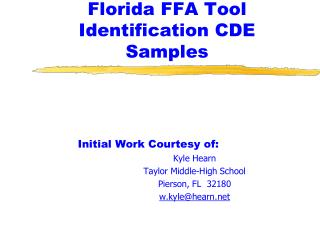 Florida FFA Tool Identification CDE Samples