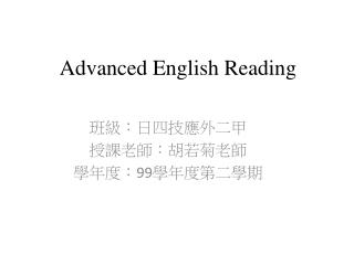 Advanced English Reading