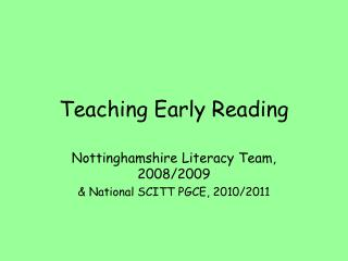 Teaching Early Reading