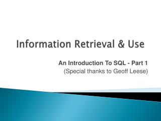 Information Retrieval  &  Use
