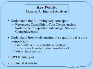 Key Points: Chapter 3:  Internal Analysis