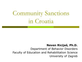 Community Sanctions  in Croatia