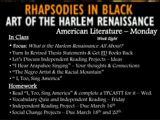 In Class Focus: What is the Harlem Renaissance All About?