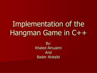 Implementation of the Hangman Game in C++