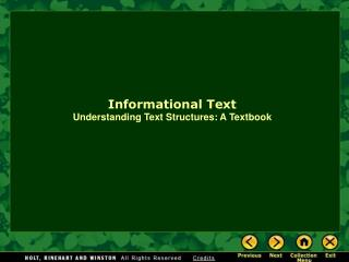 Informational Text Understanding Text Structures: A Textbook