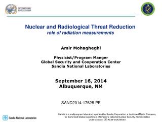 Nuclear and Radiological Threat Reduction role of radiation measurements