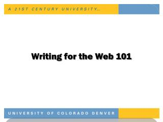 Writing for the Web 101