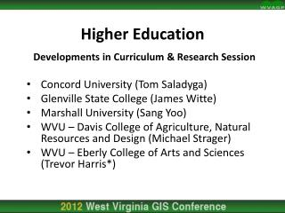 Higher Education Developments in Curriculum & Research Session