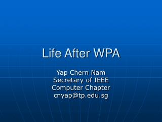Life After WPA