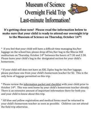 Museum of Science Overnight Field Trip Last-minute Information!