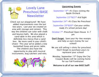 Lovely Lane Preschool/BASE Newsletter