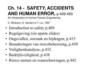 Introduction to safety p.409 Regelgeving (zie aparte slides)