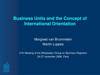 Business Units and the Concept of International Orientation