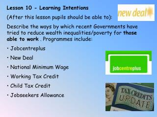Lesson 10 - Learning Intentions (After this lesson pupils should be able to):