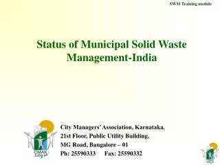Status of Municipal Solid Waste Management-India