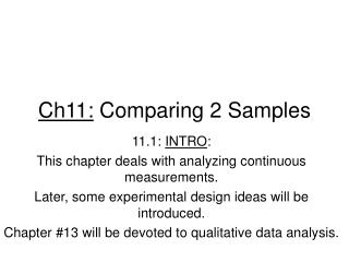 Ch11:  Comparing 2 Samples