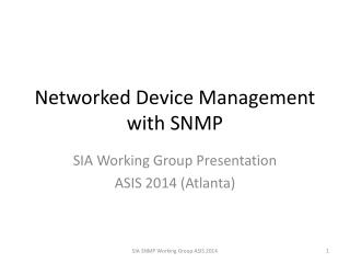 Networked Device Management with SNMP