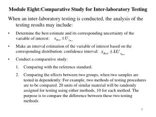 Module Eight:Comparative Study for Inter-laboratory Testing