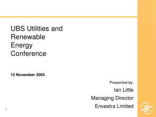UBS Utilities and Renewable Energy Conference