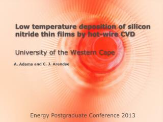Low temperature deposition of silicon nitride thin films by hot-wire CVD