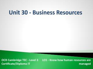 Unit 30 - Business Resources