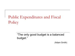 Public Expenditures and Fiscal Policy