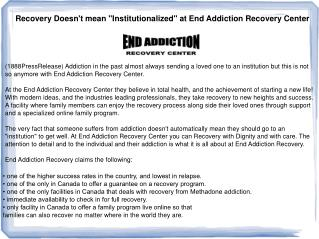 "Recovery Doesn't mean ""Institutionalized"" at End Addiction R"