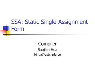 SSA: Static Single-Assignment Form
