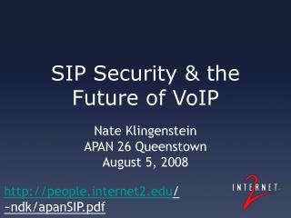 SIP Security & the Future of VoIP