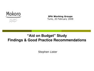 """Aid on Budget"" Study Findings & Good Practice Recommendations"