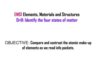 EMS1  Elements, Materials and Structures Drill: Identify the four states of matter