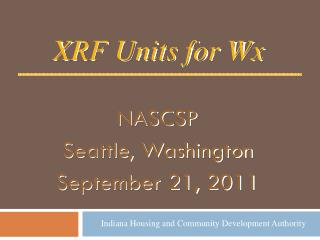 NASCSP Seattle, Washington September 21, 2011