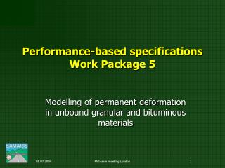 Performance-based specifications Work Package 5