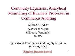 Continuity Equations: Analytical Monitoring of Business Processes in Continuous Auditing