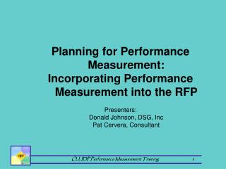 Planning for Performance Measurement:  Incorporating Performance Measurement into the RFP