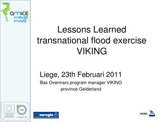 Lessons Learned  transnational flood exercise VIKING