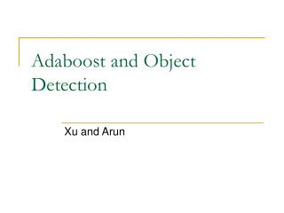 Adaboost and Object Detection