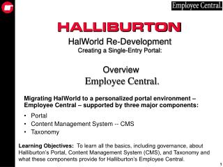 HalWorld Re-Development Creating a Single-Entry Portal:  Overview Employee Central.